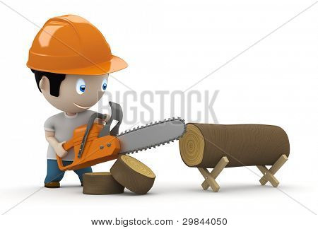 Lumberjack at work! Social 3D characters: woodcutter using saw to slice the trunk. New constantly growing collection of expressive unique multiuse people images. Concept logger illustration. Isolated.