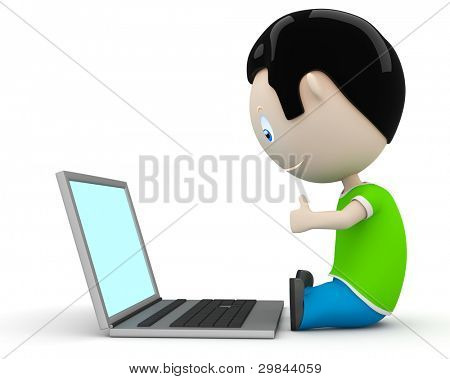 Like it! Social 3D characters happy smiling boy showing big finger to laptop. New constantly growing collection of expressive unique multiuse people images. Concept social like illustration. Isolated.