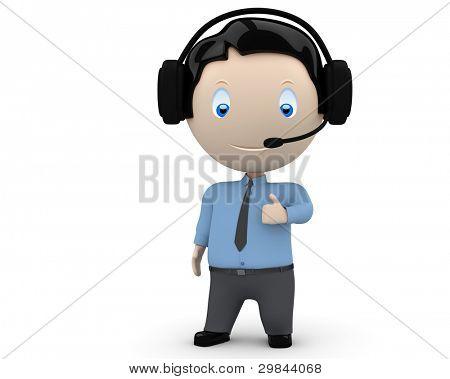 Call Center-Betreiber mag Sie! soziale 3d Zeichen man tragen Kopfhörer, Krawatte und Hemd anzeigen