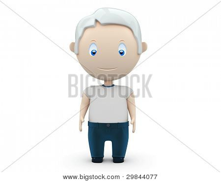 Senior. Social 3D characters: old man wearing jeans and t-shirt stands still. New constantly growing collection of expressive unique multiuse people images. Concept for aging illustration. Isolated.