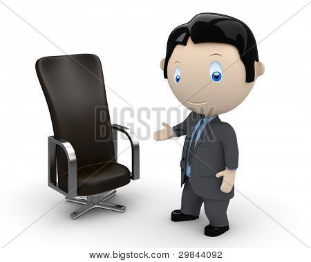 Welcome to your new place of work. Social 3D characters: businessman pointing at leather office chair (career). New constantly growing collection of expressive unique multiuse people images. Isolated.