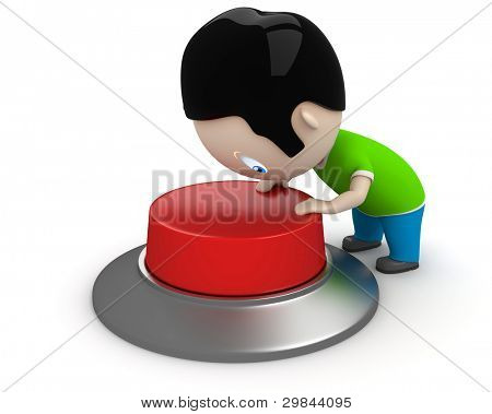 Start! Social 3D characters: boy pressing red button to start the process. New constantly growing collection of expressive unique multiuse people images. Concept for start illustration. Isolated.