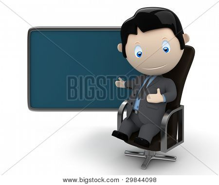 Place your text / logo / product on blank copyspace. Social 3D characters: businessman in suit sitting on leather office chair pointing at the blank rectangular space. New collection. Isolated.
