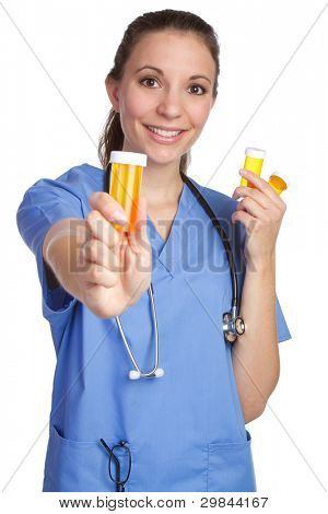 Medical nurse holding pills bottle