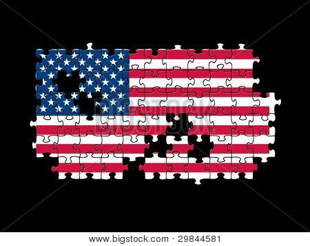 Jigsaw pieces filled with USA flag over black.