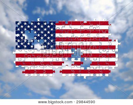 Jigsaw pieces filled with USA flag over sky background.