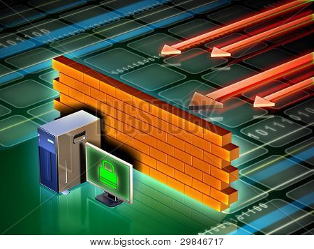 Personal computer protected from external attacks by a brick wall. Digital illustration.