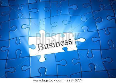 An image of a blue jigsaw puzzle with the word business