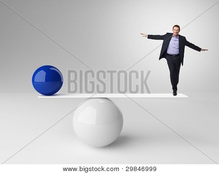3d image of ball rendering in false balance and businessman