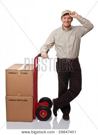 delivery man with classic handtruck on white background