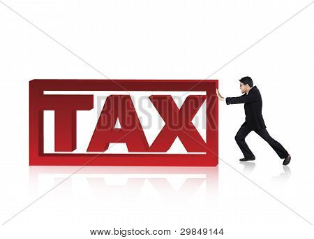 Businessman Pushing a Tax Sign