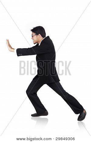 Businessman Pushing Pose