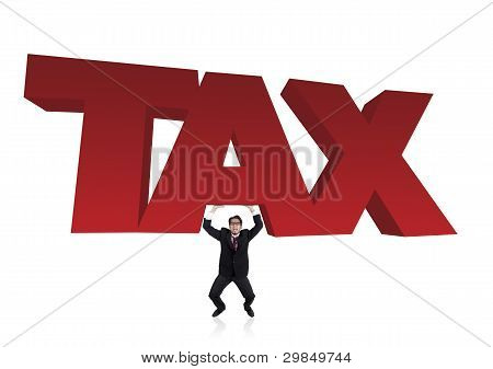 Bussinessman Lifts A Tax Sign