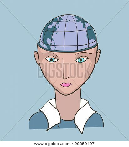 Business  woman creative vector illustration. Earth planet inside the head
