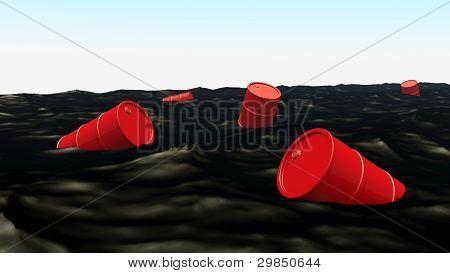 Barrels At Oil Ocean