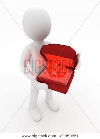 3d man holding a box with a diamond heart