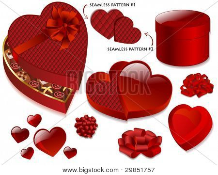 Deep Blood-Red Heart-Shaped Valentine's Gift Boxes, Chocolate Box, Round Box, Fancy Bows and Heart Icons, with two complementary elegant red patterns