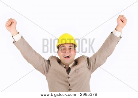 Businessman With Happy Hands Raised