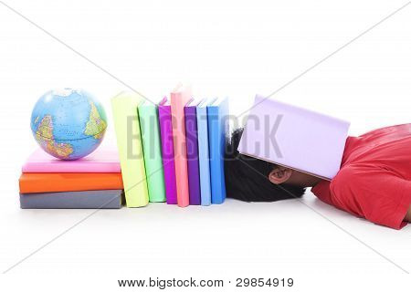 College student with books