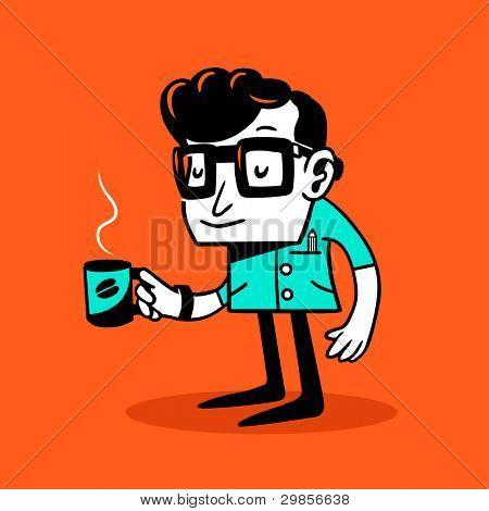 Drowsy clerk. Vector illustration.