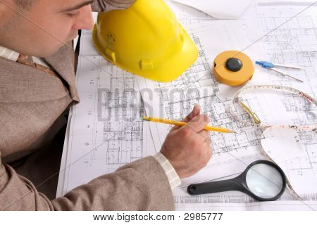 Businessman With Architectural Plans
