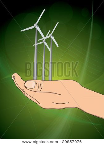 ecology concept with hand which give wind power station. vector illustration