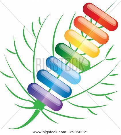 Colored Pills Capsules, Vector Illustration