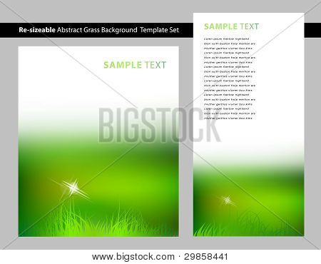 Abstract Green Grass Flare Background Template Set