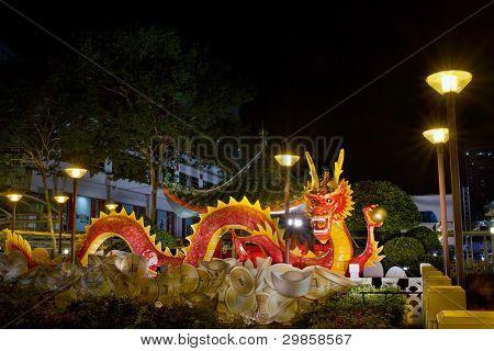 Chinese New Year 2012 Dragon Sculpture On Bridge