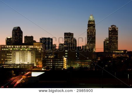 Charlotte Skyline At Twilight