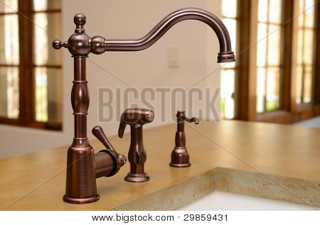 Faucet in a kitchen sink