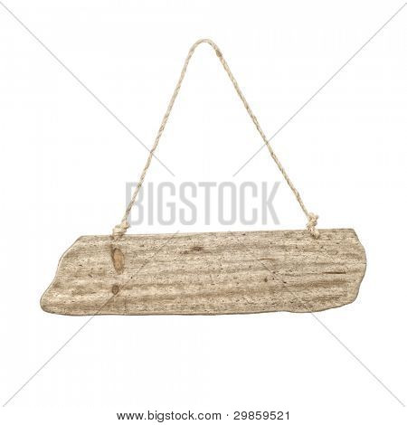Blank hanging wooden sign with bleached wood effect on white background