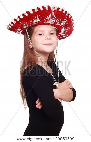 little girl in mexican hat