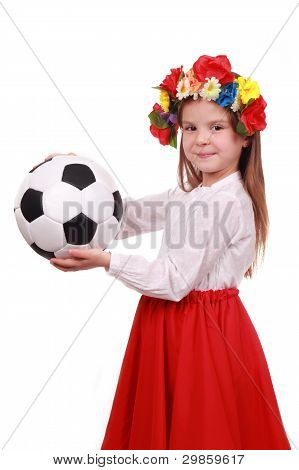Ukrainian girl with a soccer ball