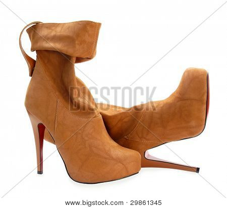 Brown high heels ankle boots