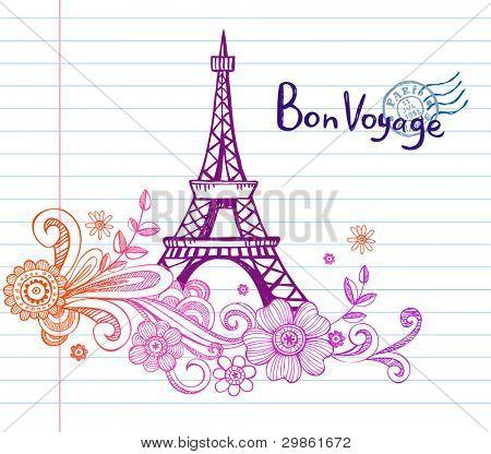 Eiffel tower in Paris, doodle style