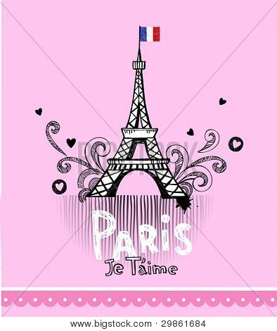 Eiffel tower in Paris, post card in glamour doodle style