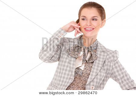 Closeup of cute businesswoman making call me gesture over white background