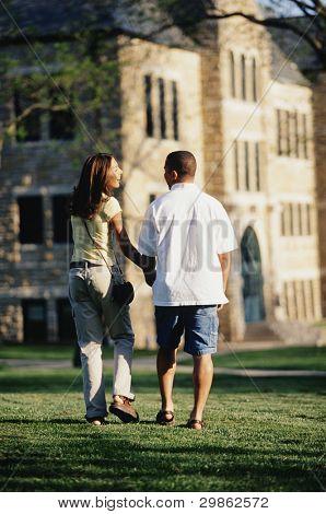Vista traseira do casal andando através de gramado