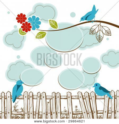 Birds tweeting social media concept with clouds for speech bubbles