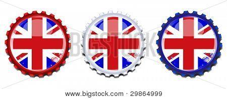 Union Jack Flaschenverschlüsse. Kondensation sinkt auf separaten Ebene für einfache Bearbeitung. eps10-Vektor-format