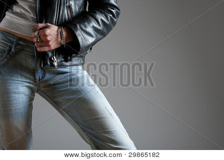 Jeans And Black Leather