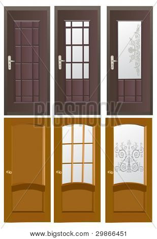 Ilustración con seis puertas aisladas sobre fondo blanco