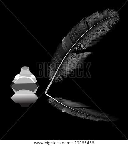 illustration with feather in inkstand isolated on black background