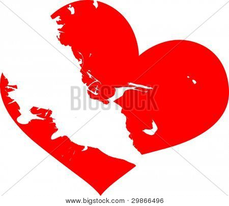 illustration with red broken heart on white background