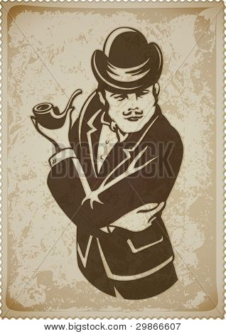 retro man in suit with pipe vector illustration