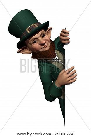 Leprechaun Looking Over An Edge Or Border