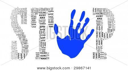Sign of Stop Violence Against Women in Word Collage