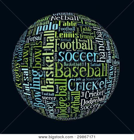 List of Ball Games in Word Collage