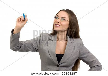 Beautiful smiling young business woman with marker isolated on a white background